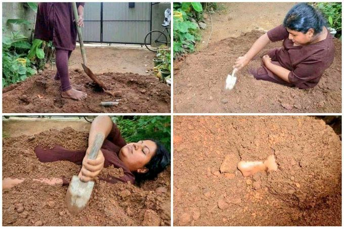 woman burying herself in the ground meme template-getmemetemplates- dramatic girls reaction-woman with shovel-latest meme templates
